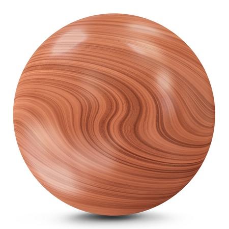 solid figure: Palla di legno isolato su sfondo bianco Archivio Fotografico