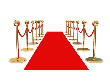 velvet rope: Red Carpet isolated on white background
