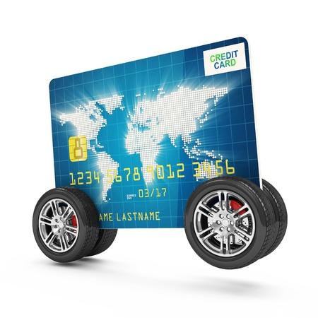 白い背景で隔離の車輪の上のクレジット カード