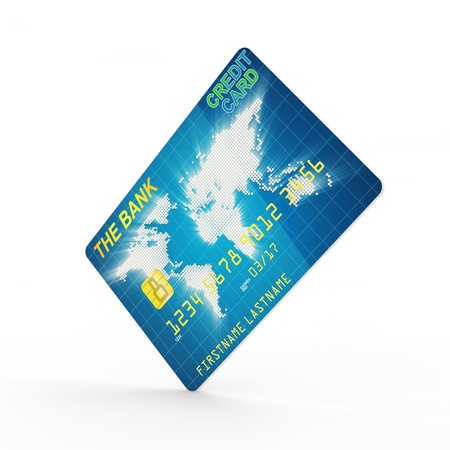 international bank account number: Credit Card isolated on white background Stock Photo