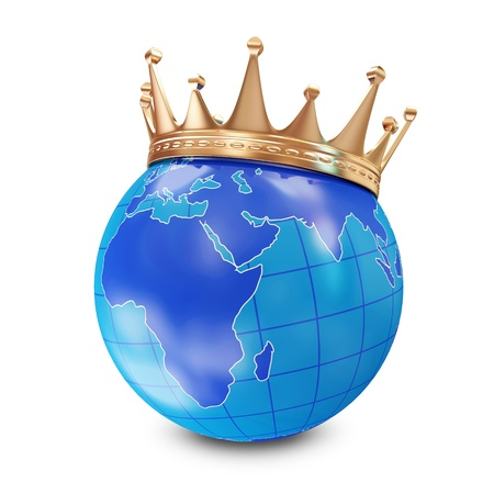 dignity: Miniature Globe with Golden Crown  Stock Photo