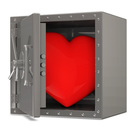 Opened Steel Safe with Red Heart photo