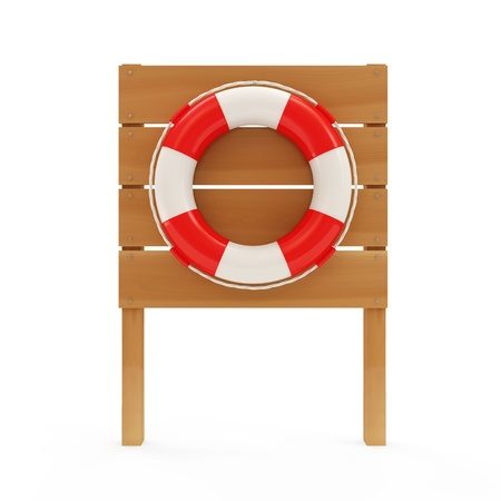 life preserver: Red Lifebelt on wooden board  Stock Photo