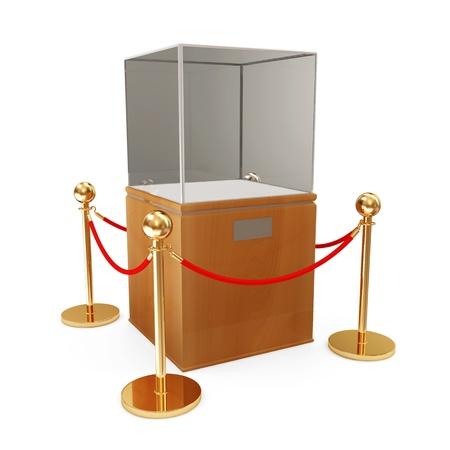 Empty Presentation Showcase and Golden Velvet Rope Stock Photo - 22872142