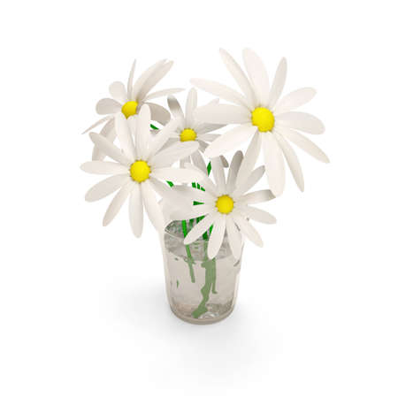 glas 3d: Vase with Daisies  Stock Photo