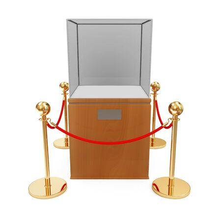 Empty Presentation Showcase and Golden Velvet Rope Stock Photo - 22872276