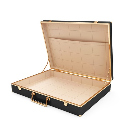 leather briefcase: Empty Opened Suitcase
