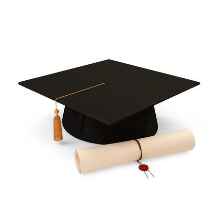 졸업 모자 및 디플로마