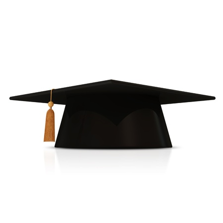 black cap: Graduation Cap isolated on white background Stock Photo