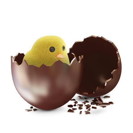 broken egg: Broken Chocolate Easter Egg with Little Chicken isolated on white background