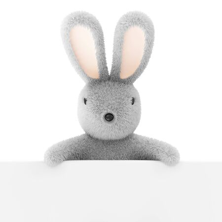 Easter Bunny with Blank Board isolated on white background photo