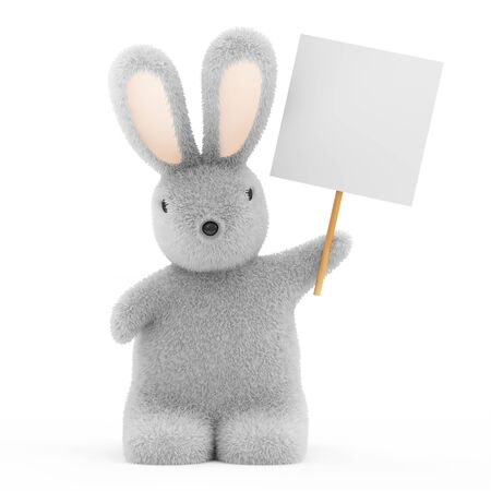 fuzzy: Easter Bunny with Blank Board isolated on white background Stock Photo
