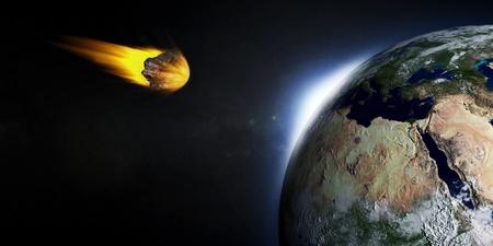 planetoid: 3D Illustration of Falling Asteroid on Earth