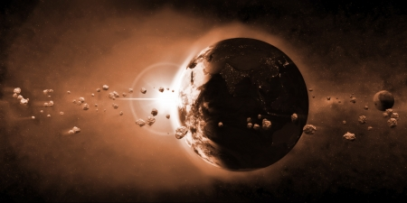 doom: Earth Planet with Rising Sun and Asteroid Belt  Elements of this image furnished by NASA  Stock Photo