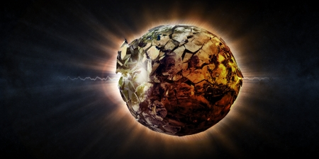 belief system: Abstract Illustration of Armageddon - Planet Earth Disaster