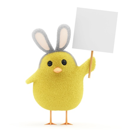 Little Chicken with Bunny Ears and Blank Board isolated on white background photo