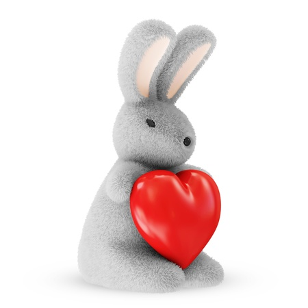 cute love: Happy Bunny with Red Heart isolated on white background Stock Photo