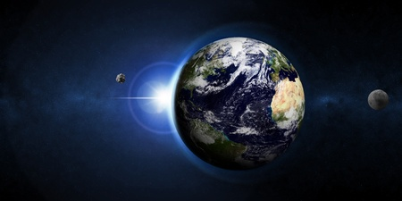 planetoid: Earth Planet with Rising Sun and Asteroid