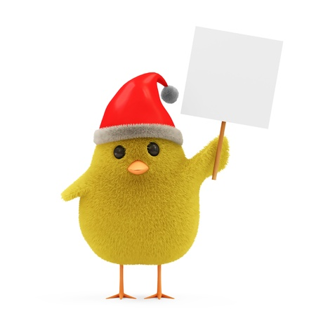 Little Chicken Santa with Blank Board and Hat isolated on white background photo