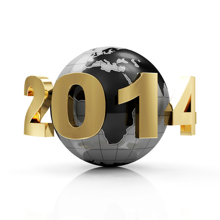 New Year 2014 around Earth planet isolated on white background Stock Photo - 23802791