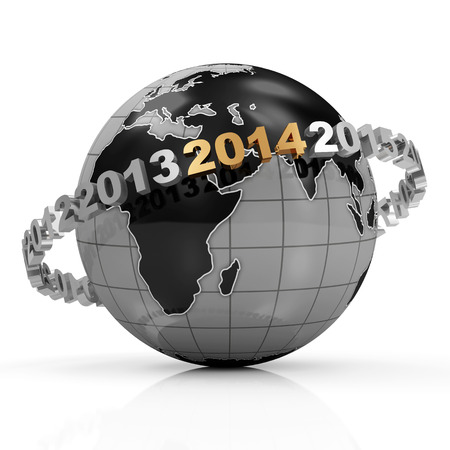 New Year 2014 around Earth planet isolated on white background photo
