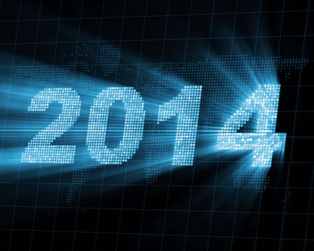 worldwide wish: Abstract Background of Glowing New Year 2014 Stock Photo