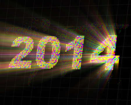 Abstract Background of Glowing New Year 2014 photo