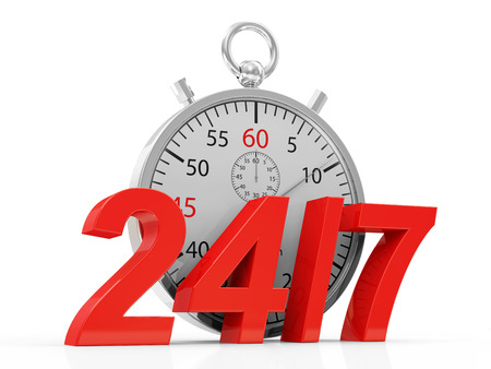 Stopwatch and 24   7 symbol isolate on white background Stock Photo
