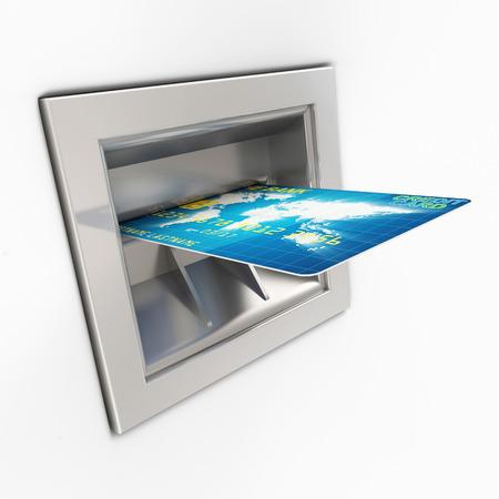 automatic transaction machine: Hasta cerca de Cajero Automático con Tarjeta de Crédito aisladas sobre fondo blanco