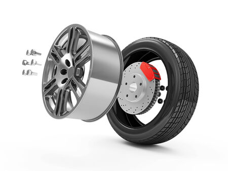 Car Wheel Concept  Demounted Car Wheel isolated on white background Stock Photo - 23802803