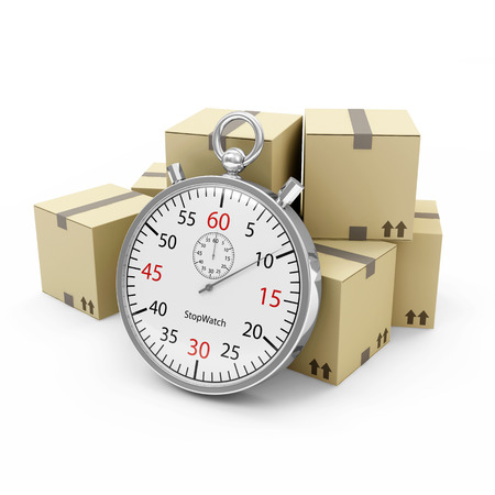 shipment parcel: Express Delivery Concept  Cardboard Boxes with a Stopwatch isolated on white background