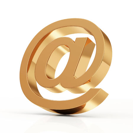 Golden Email Symbol isolated on white background photo