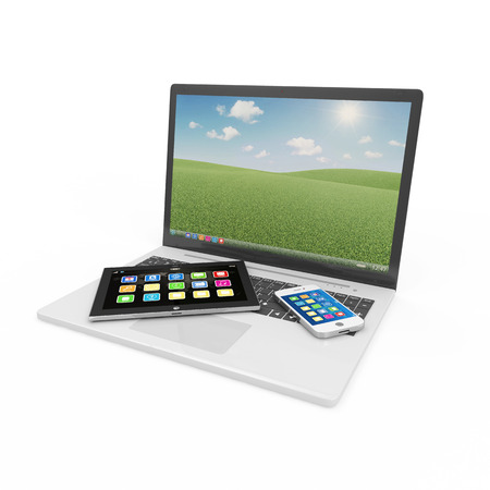 multimedia icons: Laptop, Smart Phone and Tablet PC isolated on white background