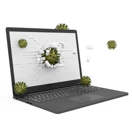 Laptop Virus Attack Concept  Laptop with Broken Brick Screen and Viruses photo