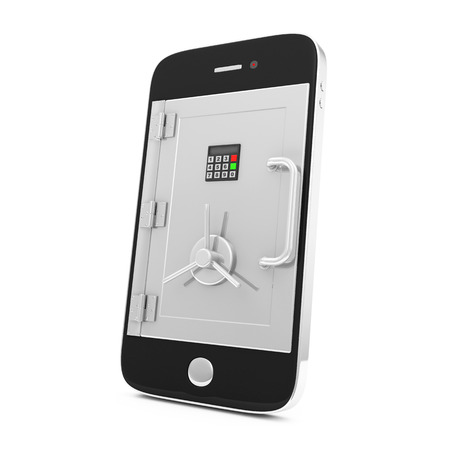 Mobile Security and Protection Concept  Smartphone with Safe Door isolated on white background photo