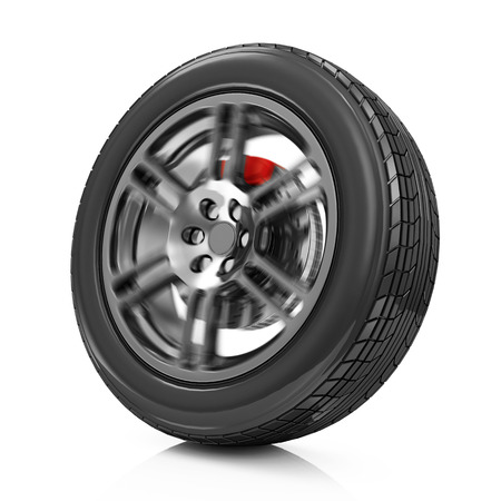 retreading: Car Wheel Icon in Motion isolated on white background