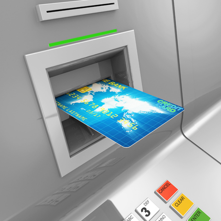 bancomat: Close Up of ATM Machine with Credit Card