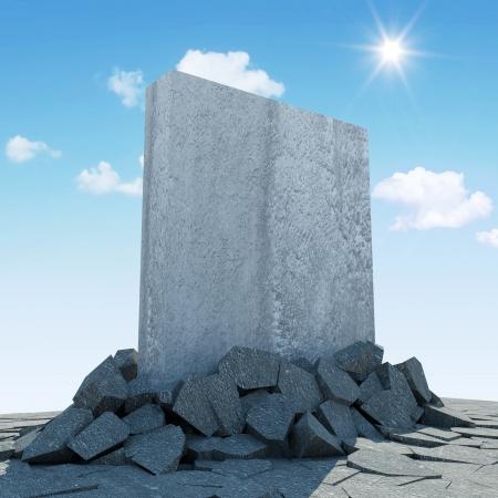 단단한 콘크리트 블록의 추상 그림은 지상에서를 통해 침입