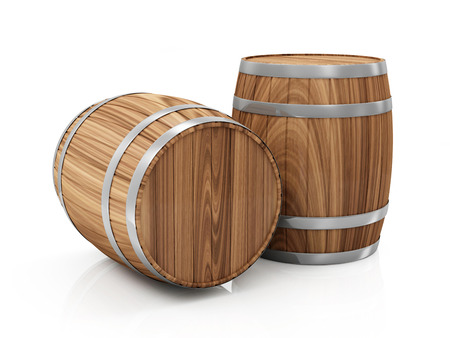 cooper: Group of Wooden Barrels isolated on white background
