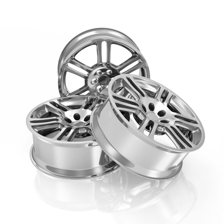 Group of Car Alloy Rims isolated on white background photo