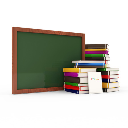 Green chalkboard with Stack of Colorful Books isolated on white background photo