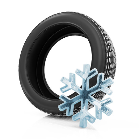 retreading: Winter Car Tire isolated on white background Stock Photo