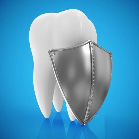 higiene bucal: Diente con el escudo de metal sobre fondo azul Concepto Protección