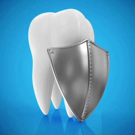 oral hygiene: Tooth with metal shield on blue background  Protection Concept