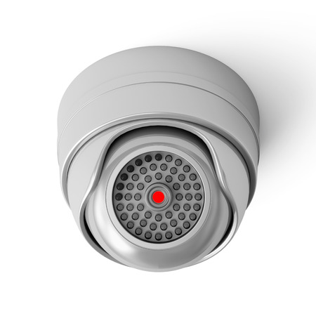 alarm system: Modern Security Camera isolated on white background