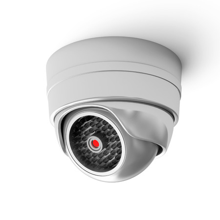 Modern Security Camera isolated on white background photo