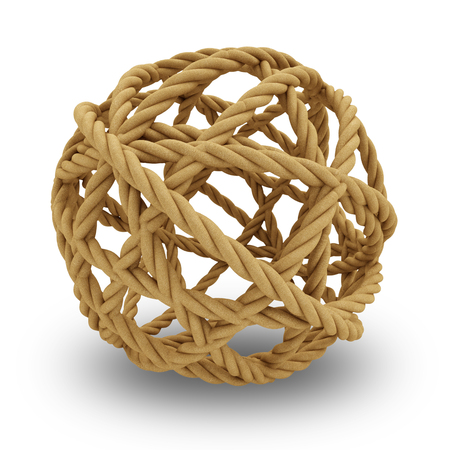rope knot: Sphere from rope isolated on white background