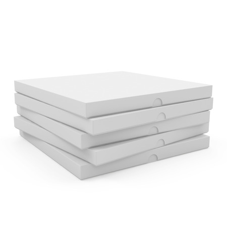 packer: Heap of pizza boxes isolated on white background Stock Photo