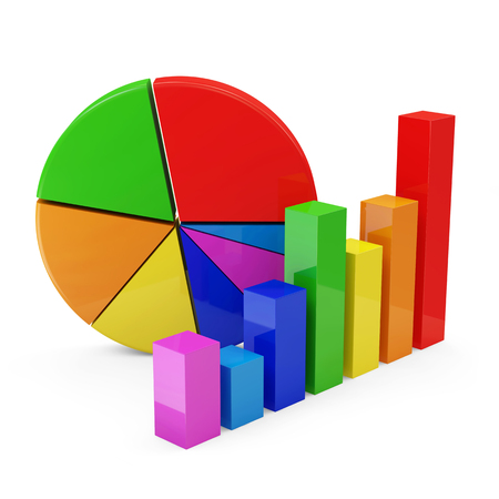 3d circle: Colorful Business Graph with Pie Chart isolated on white background Stock Photo