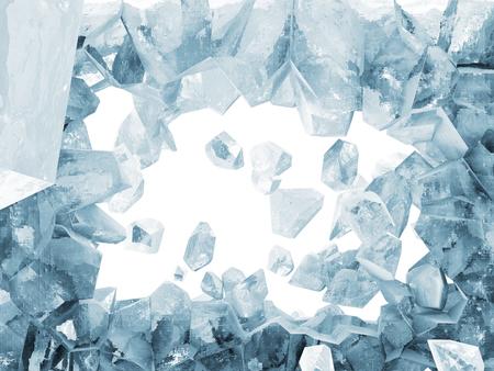 Zerbrochen Ice Wall auf weißem Hintergrund Standard-Bild - 23568585